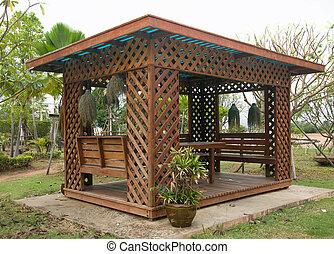 Modern house in garden