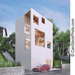 modern house in minimalist style. 3d illustrtion.