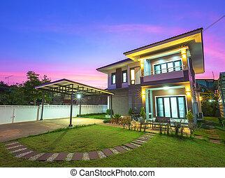 modern house in twilight