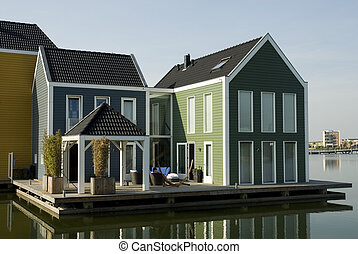 modern house in water