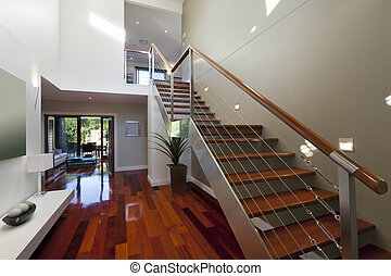 Modern house interior with staircase - Stylish house...