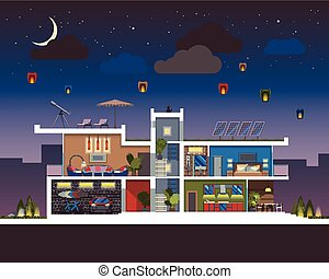 Modern house night