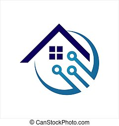 modern house protection home security logo design vector template illustration