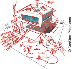 modern house redesign diagram - diagram of a possible modern...
