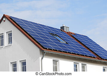 Modern House Roof With Solar Panels - Photovoltaic...