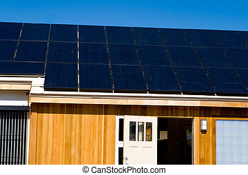 Modern House Solar Photovoltaic Panels Blue Sky
