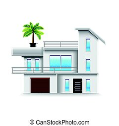Modern house with big windows isolated vector