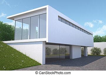 Modern house with garden, exterior view.