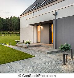 Modern house with garden - Modern house with simple garden...