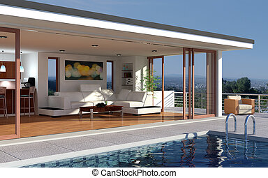 A modern house with pool and beautiful view over the city