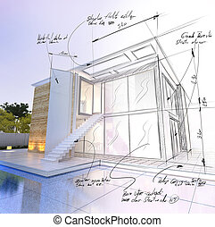 modern house with pool architecture project draft