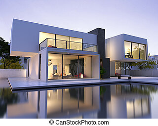 Modern house with pool - External view of a modern house ...
