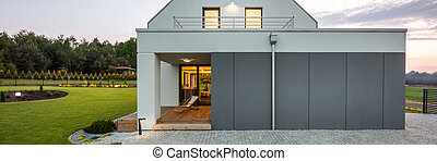 Modern house with stylish garden