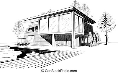 Black and white vector sketch of modern suburban wooden house with swimming pool and chaise lounges
