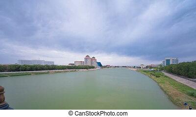 Modern houses on the riverside Ural in city Atyrau timelapse...