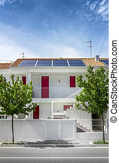 Modern houses with solar cells