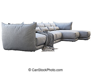 Modern huge gray corner fabric sofa with chaise lounge. 3d render