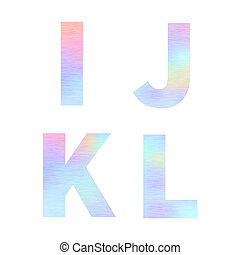 Modern I J K L letters with bright colorful holographic foil texture isolated on white