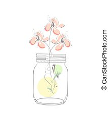 Modern illustration with abstract flowers and mason jar...