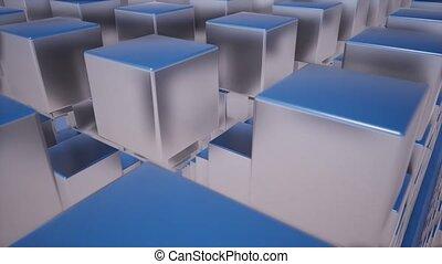 Modern illustration with black metal cubes on light background. Gray metal steel texture. Tile pattern. Brushed metal texture. Grey white texture. Cube design. 4k