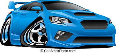 Very cool modern import sport sedan cartoon illustration. Mean, low and blue, aggressive stance, big tires and rims. Very sharp, clean lines, a crisp illustration.
