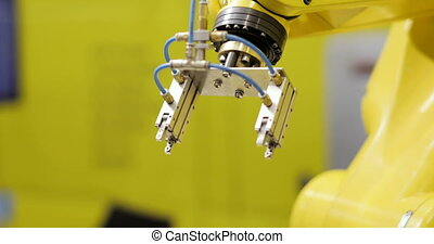 Modern Industrial automation. Robotic Arm with Gears - Speed Ramp