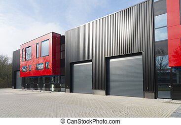 modern industrial building - newly build red industrial ...