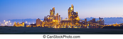 Modern Industry - Panorama of Chemical plant at sunset