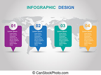 Modern infographic design template with banners