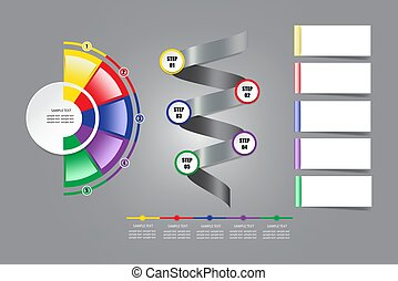 Modern infographic labels as circle, semicircle, metal spiral and place for notes