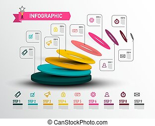 Modern Infographic Layout - Creative Web Preentation. Nine Steps Vector Infographics Design with Data Flow.