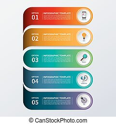 Modern infographic options banner with 5 steps, options, parts.