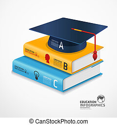 modern infographic Template with book and Graduation cap...
