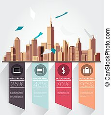 Modern infographic with building background
