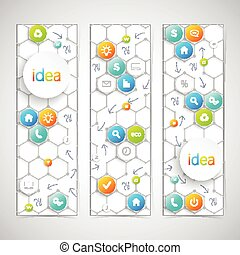 Modern infographics banner with icons. Vector illustration