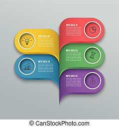 Modern infographics bubble speech template style. Vector illustration. can be used for workflow layout, diagram, number options, step up options, web design, banner template.