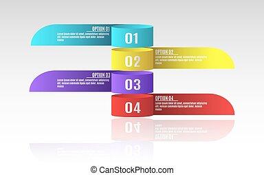 modern, infographics, für, geschaeftswelt, projects., a, diagramm, zeigen, dein, work., option, number., realistisch, papier, tapes., vektor, abbildung, in, a, wohnung, stil