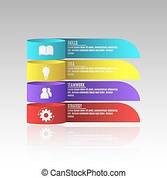Modern infographics for business projects. A diagram to show your work. Business strategy. Realistic paper tapes. Vector illustration in a flat style