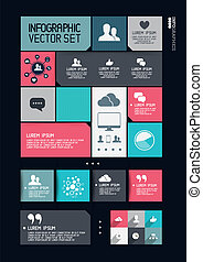 Modern Infographics Interface, information boxes and tabs. Vector illustration