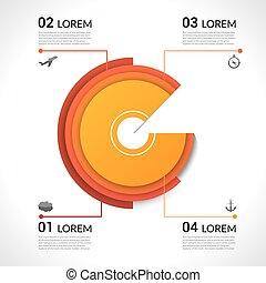 modern, infographics, kreisdiagramm, für, web, banner, beweglich, anwendungen, layouts., vektor, eps10, abbildung