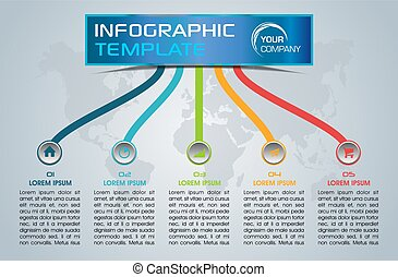 Modern infographics options template vector with colorful lines on blue background