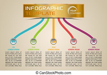 Modern infographics options template vector with colorful lines on ochre background