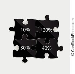 Modern infographics template style. Business puzzle pieces . Vec