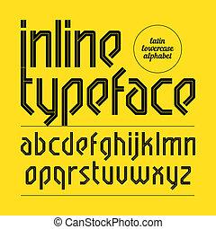 Modern inline typeface, alphabet