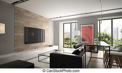 modern, innenarchitektur, 3d, übertragung