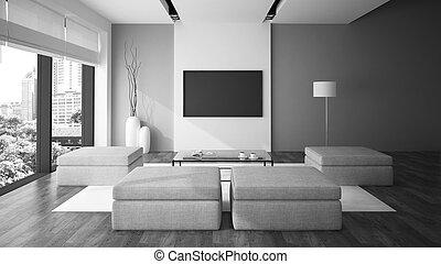 Modern, Inneneinrichtung, In, Minimalismus, Stil, Schwarz Weiß, Farbe, 3d