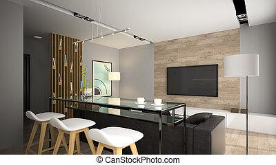 modern, inneneinrichtung, mit, glas, bar, tisch, 3d, übertragung
