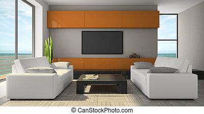 modern, inneneinrichtung, mit, orange, kabinett, und, seaview