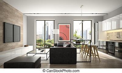 modern, inneneinrichtung, mit, parkettboden, und, schwarz, sofa, 3d, übertragung