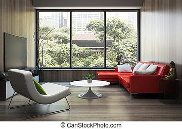 modern, inneneinrichtung, mit, rotes , sofa